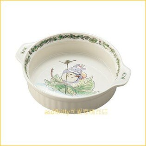 asdfkitty可愛家☆TOTORO龍貓雙耳陶瓷深圓型焗烤盤陶瓷盤-日本正版商品