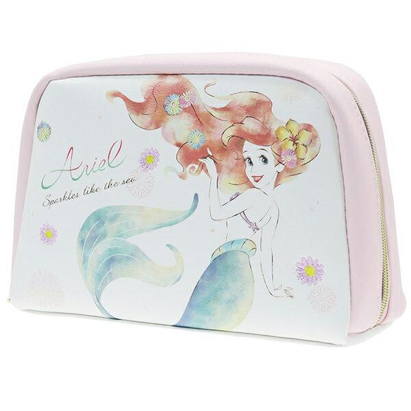 【小美人魚皮革化妝包】迪士尼 小美人魚 化妝包 皮革 高   該該貝比  ☆