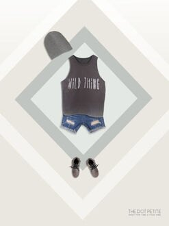 THE DOT PETITE中韓時尚童裝 夏裝 男童 灰藍字母造型棉質背心/上衣/T恤