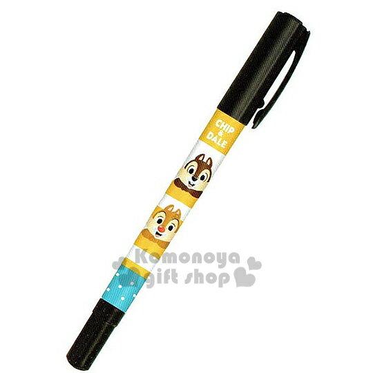 〔小禮堂〕迪士尼 奇奇蒂蒂 日製兩頭油性簽字筆《黃白.條紋.大臉.點點》黑色墨水