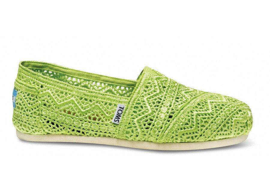 【TOMS】果綠色蕾絲鏤空繡花平底休閒鞋  Neon Lime Crochet Women's Classics 2