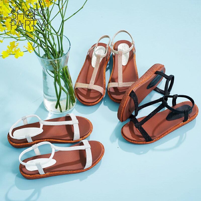 【S2-17623L】Simple+久走不累亮晶晶T字涼鞋_Shoes Party 0