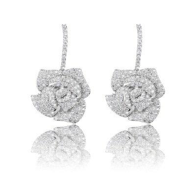 ~925純銀耳環鑲鑽耳飾~古典華麗玫瑰花 情人節生日 女飾品73hz58~ ~~米蘭 ~