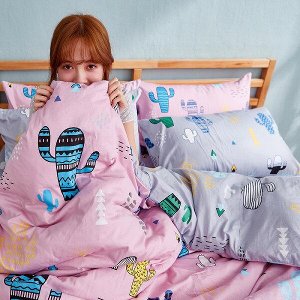 床包雙人-100%精梳棉【OH!仙人掌-粉】含兩件枕套,戀家小舖,台灣製