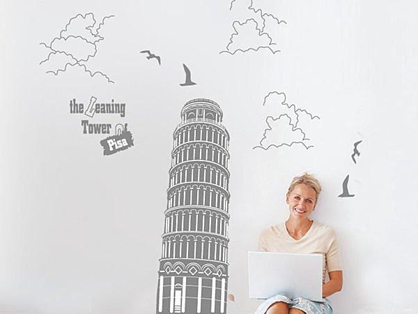 BO雜貨【YV2885】可移動 時尚組合壁貼 牆貼 壁貼紙 創意璧貼 壁紙壁貼 黑色斜塔