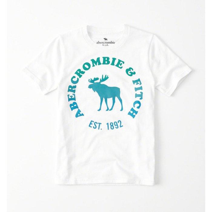 美國百分百【Abercrombie & Fitch】T恤 AF 短袖 麋鹿 kids 女男 漸層 白色 S號美國青年版 H791