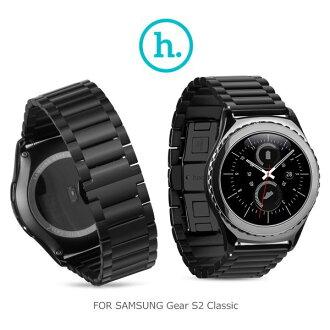 (黑色)HOCO 格朗錶帶三珠款/SAMSUNG GGear S2 Classic/通用22mm/錶帶【馬尼行動通訊】