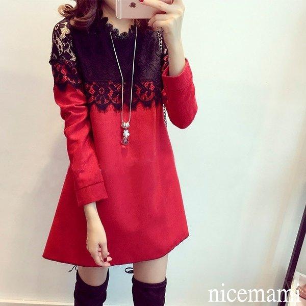 韓版氣質純色領拼洋裝