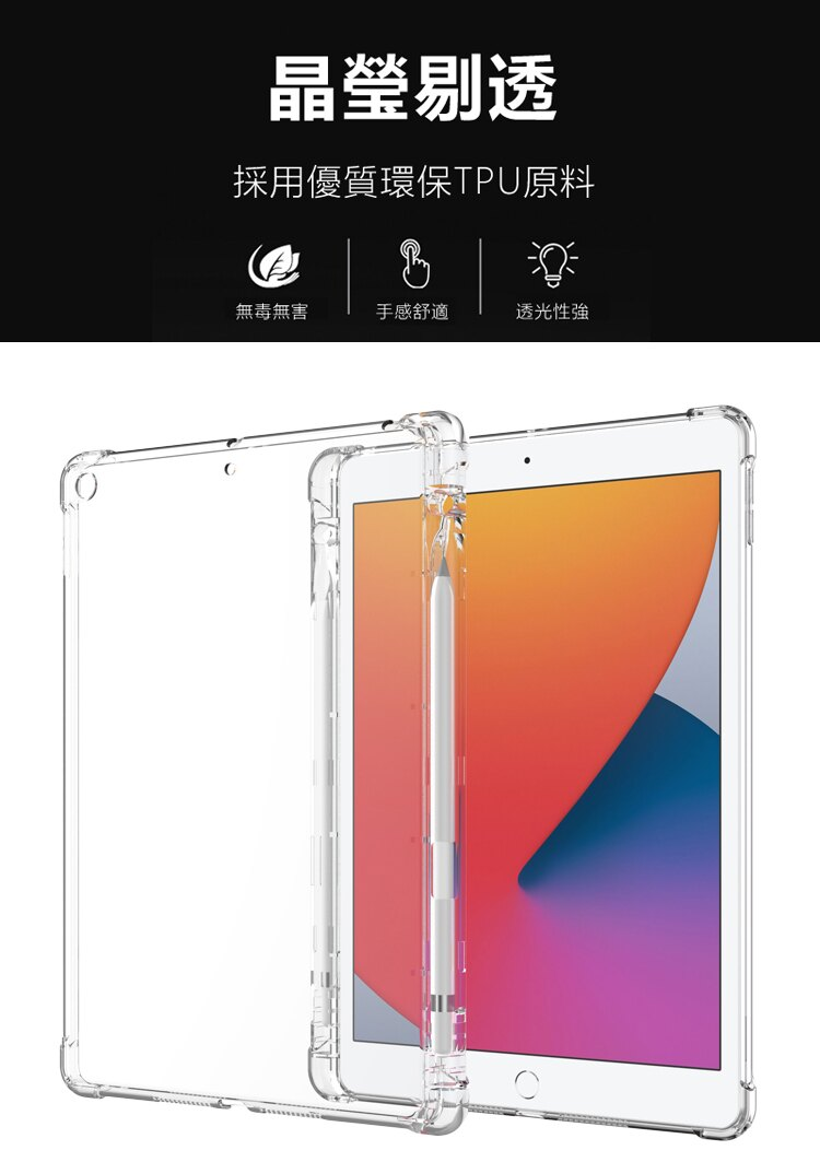 Apple蘋果2020/2019版 iPad 10.2吋附筆槽氣囊防摔殼TPU透明清水保護殼透明背蓋