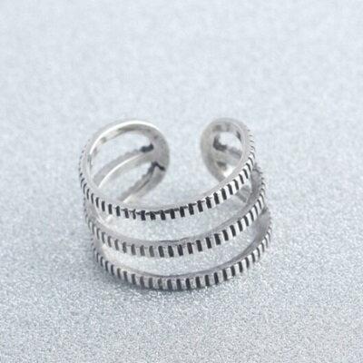 ~925純銀戒指三條線開口戒~ 簡約百搭 生日情人節 女飾品73gp29~ ~~米蘭 ~