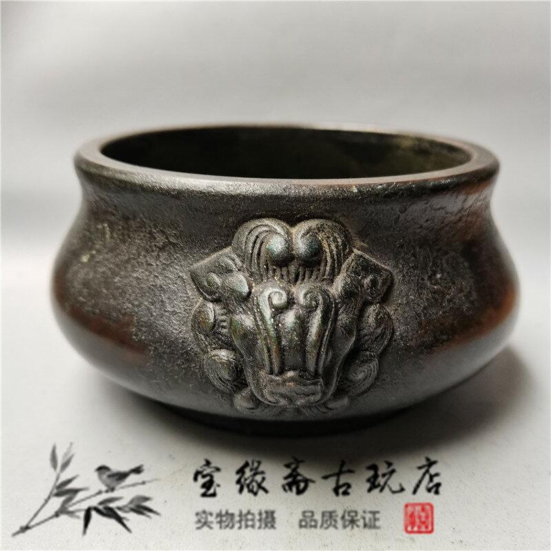 寶緣齋古玩仿古做舊純銅獅耳香爐檀香茶道供奉居家全國