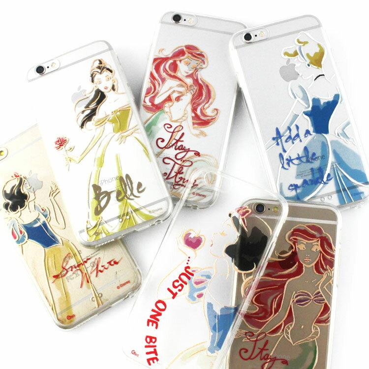 【Disney 】iPhone 6 plus 彩繪金色/珠光白透明雙料保護殼-公主系列