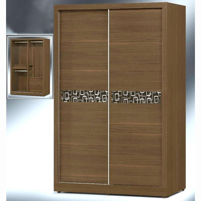 【尚品傢俱】K-EY-107 幾何 胡桃 4*7尺推門衣櫃/衣櫥/收納櫃/儲物櫃/貯藏櫃/衣物整理櫃/居家置物櫃