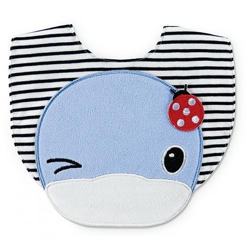 【奇買親子購物網】酷咕鴨KU.KU.眨眨眼條紋小圍兜(藍色粉色)