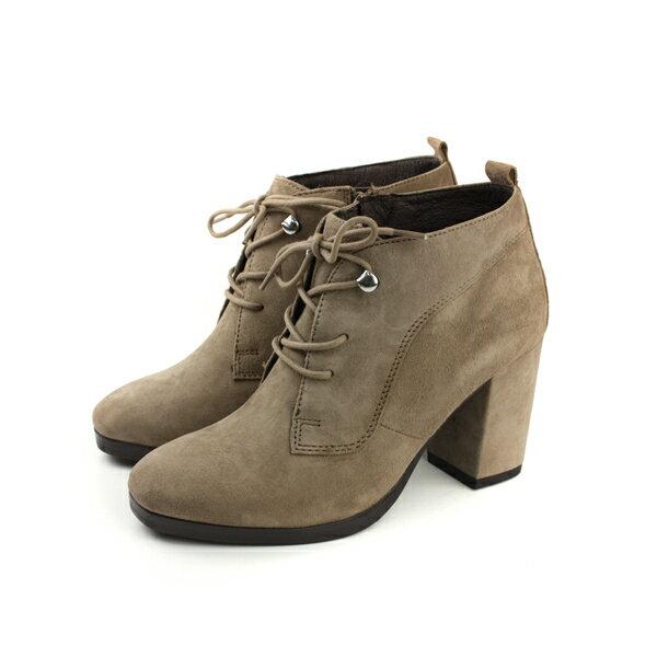 HUMAN PEACE:HUMANPEACE皮革高跟粗跟靴子卡其色女鞋7516-11no042