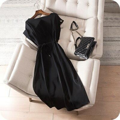 連身裙純色連衣裙-簡約優雅繫帶收腰女上衣73sz24【獨家進口】【米蘭精品】