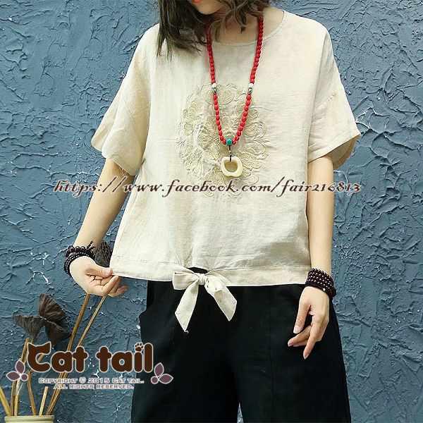 《貓尾巴》JP-01789中國風復古刺繡純色短袖上衣(森林系日系棉麻文青清新)
