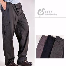 【CS衣舖 】30-50腰大尺碼 百分百純棉 側口袋、多口袋休閒褲 三色 3975 - 限時優惠好康折扣