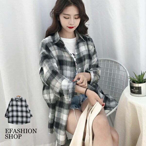 混毛棉格紋襯衫-eFashion預【J16511043】