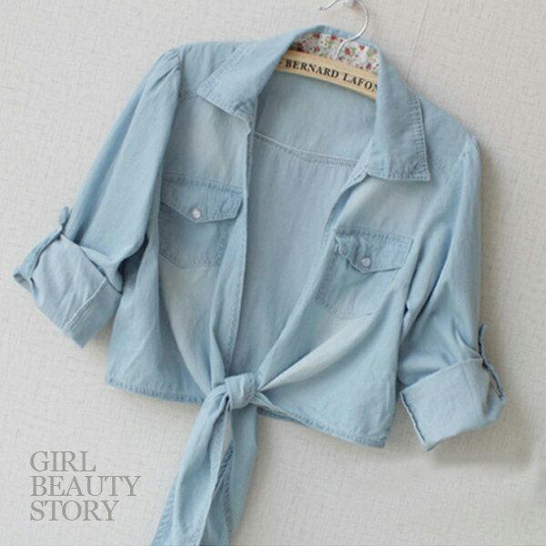 SISI~C3031~ 碎花翻領洗舊刷色折袖短版丹寧牛仔襯衫綁帶