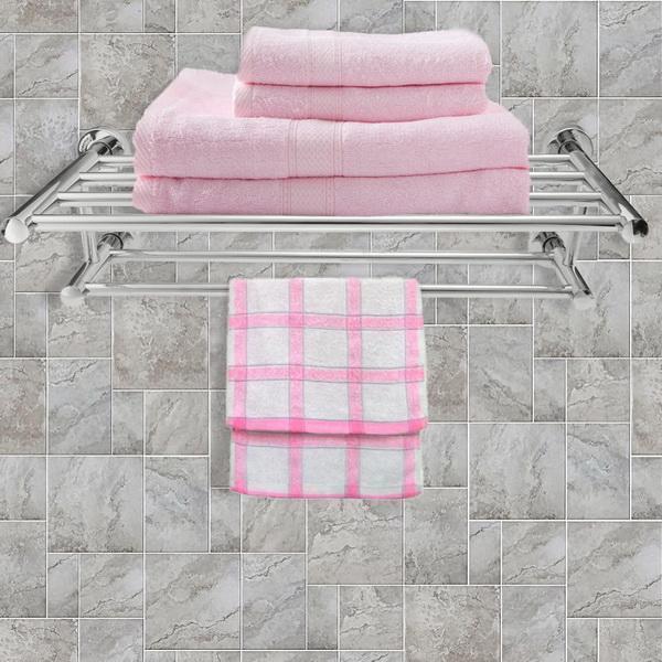 Stainless Steel Bathroom Wall Mounted Towel Rack Holder Dual Row Shelf 1