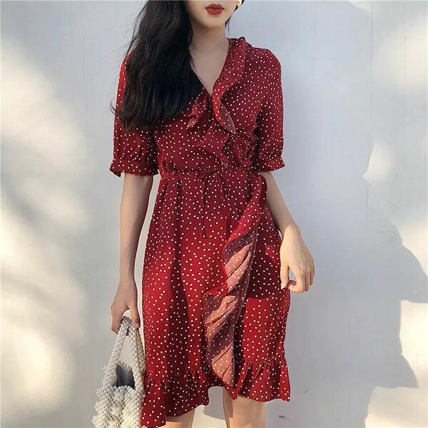 紅白點點荷葉邊雪紡洋裝連衣裙短袖顯瘦性感氣質婚禮上班族韓國木耳邊女神仙女ANNAS.