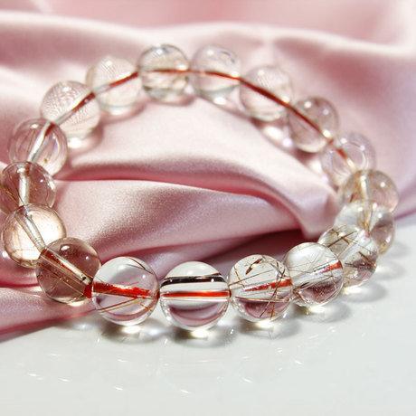 水晶銅發晶招財飾品 紅發晶順發男女手鏈
