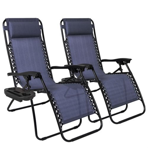 Best Choice Products Set Of 2 Zero Gravity Chairs W/ Cup Holders   Navy Blue