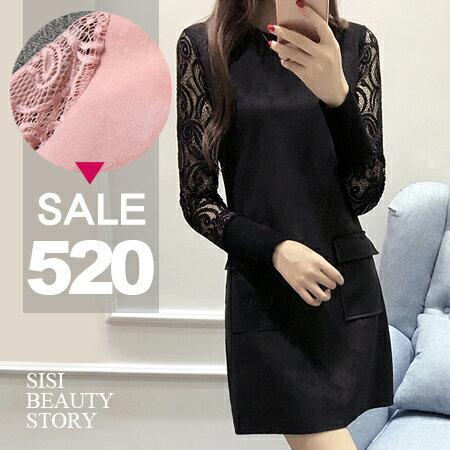 SISI【D6019】優雅微性感圓領修身顯瘦中長款麂皮絨拼接鏤空蕾絲袖連身裙洋裝