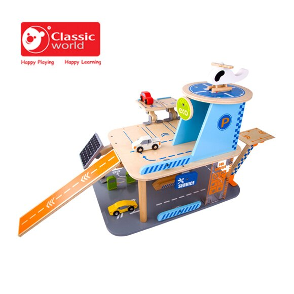 【德國 classic world】客來喜木頭玩具 城市綠能停車塔 CL4148