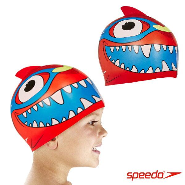 【SPEEDO】幼童SeaSquad矽膠鯊魚泳帽彈性-SD808769A621紅[陽光樂活]