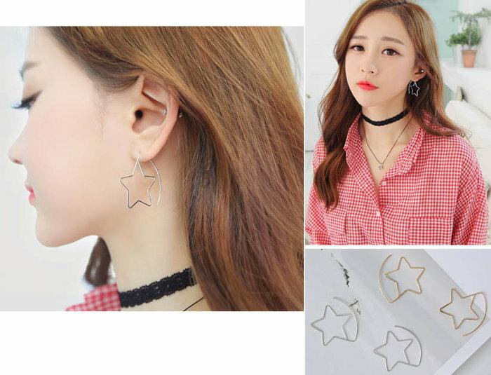 ~草魚妹~H586耳環潔俐落 百搭五角星星 垂墜耳針耳環,售價150元