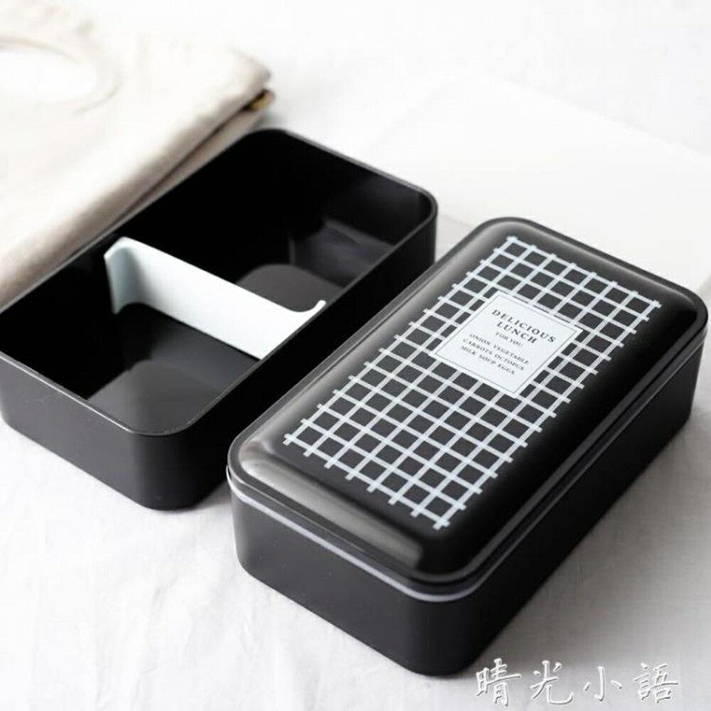 吉樂島 雙層帶蓋便當盒 日式分格壽司盒微波爐餐盒學生飯盒保鮮盒  晴光小語