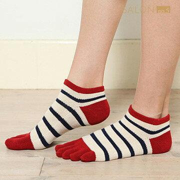 【靴下屋Tabio】女款休閒百搭條紋五趾短筒襪  /  日本職人手做 1