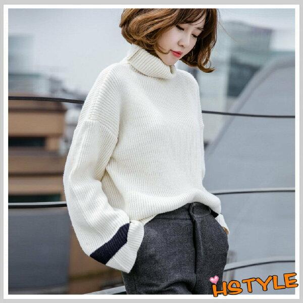 針織上衣 高領寬鬆條紋長袖針織衫JM7114-創翊韓都