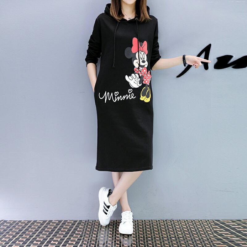 M~4XL 米妮連帽中長款帽T過膝連衣裙 迪士尼系列 【TT7111M6AS】 Lanny Dress 3