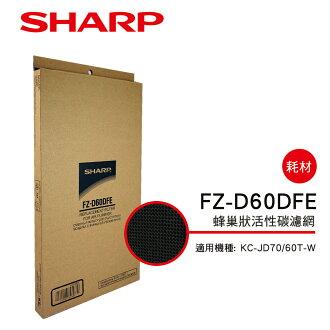 【SHARP 夏普】KC-JD70/60T-W專用蜂巢狀活性碳濾網 FZ-D60DFE