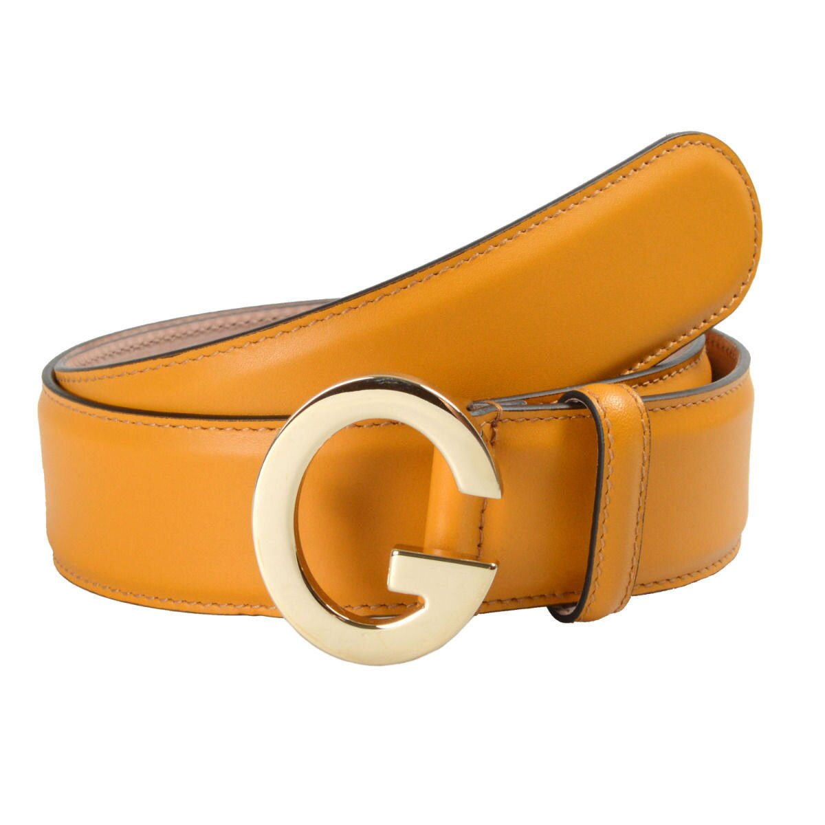 cd8d7c53e36 Gucci Unisex Mustard Yellow Buckle Decorated Leather Belt Sz US 32 IT 80 0