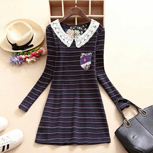 花邊領加絨加厚連身裙 (2色,S~XL) 【OREAD】 1