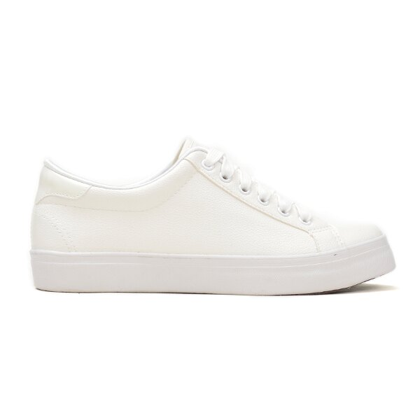 全素面柔軟荔枝紋小白鞋-白
