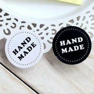 =優生活=「優惠買一送一」韓國純手工製作字樣 HAND MADE 黑白圓形簡約貼紙 封口貼 烘焙貼 裝飾貼紙 8枚