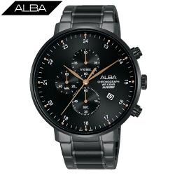 ALBA 雅柏 廣告款 黑色潮流 計時男錶 AM3665X1 黑/44mm