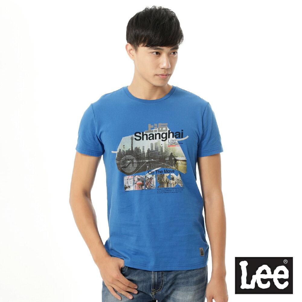 【精選上衣3.5折】Lee 短袖T恤 上海市彩色圖案印刷 -男款(藍)【12/1-31 單筆滿1000結帳輸入序號 XmasGift-100 再折↘100】