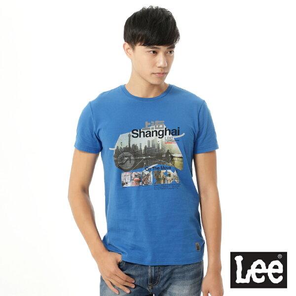 Lee Jeans tw:【精選上衣3.5折】Lee短袖T恤上海市彩色圖案印刷-男款(藍)【單筆消費滿1000元全會員結帳輸入序號『CNY100』↘折100