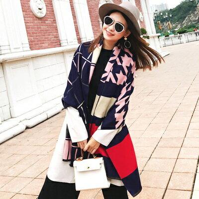 【米蘭精品】圍巾仿羊絨披肩-格紋千鳥紋時尚兩用女配件4色73ub36