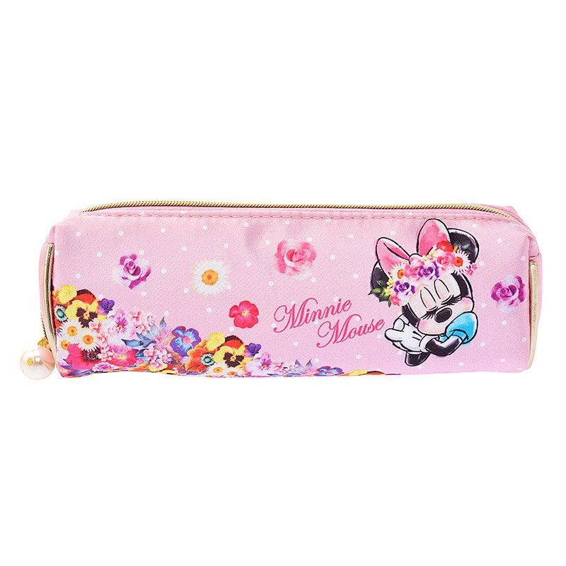 【真愛日本】15101500036 限定絲鍛珍珠寬口化妝包-MN Mickey Minnie 化妝包 收納包 日本帶回