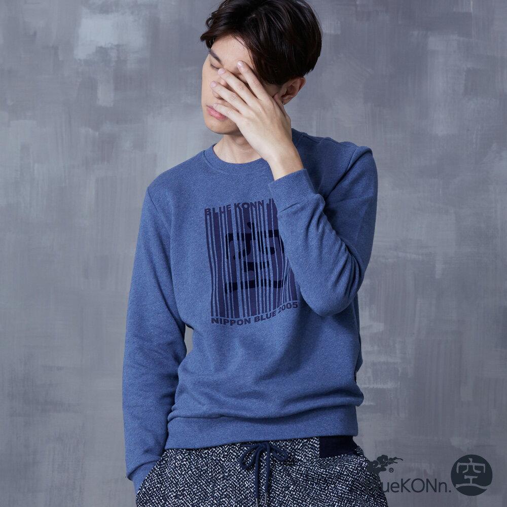 【秋冬精選】印花條碼圖長袖T恤(藍) - BLUE WAY  BlueKONn.空 0