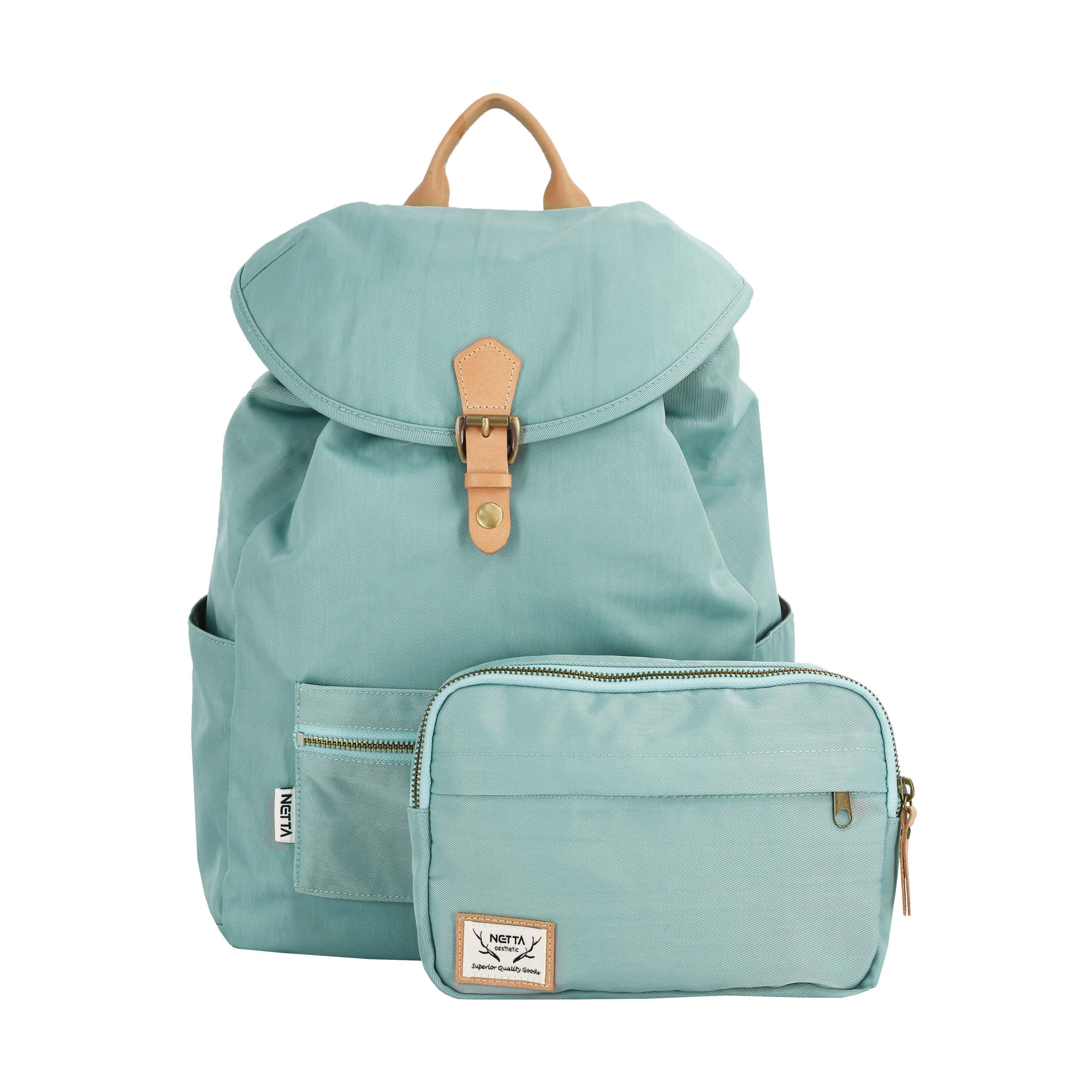 防潑水多功能後背包/束口後背包/淺綠/尺寸M號/小包可拆卸【NETTA】