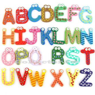 【Q14112902】兒童早教玩具-創意木質英文字母磁貼 磁鐵 冰箱貼 26個裝