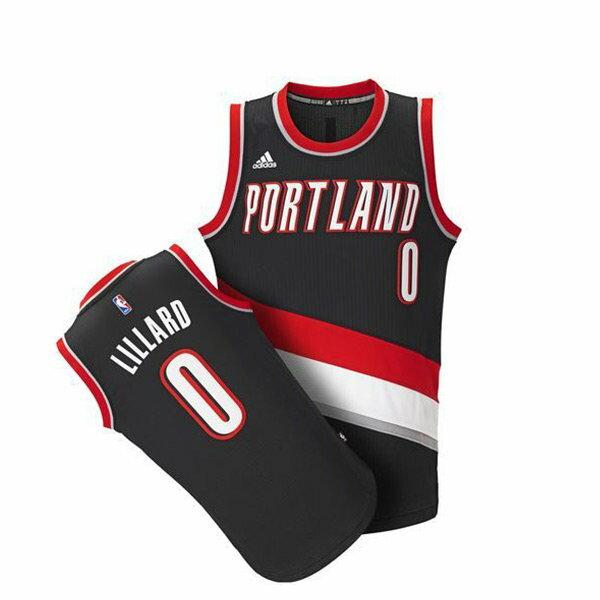 【EST S】Adidas NBA球衣 A46238 拓荒者 Damian Lillard 黑紅客場 H0209